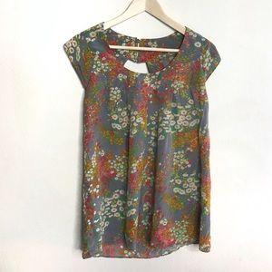 Anthro Lauren Moffatt   Floral Silk Blouse